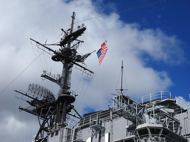 Flag Atop the USS Midway