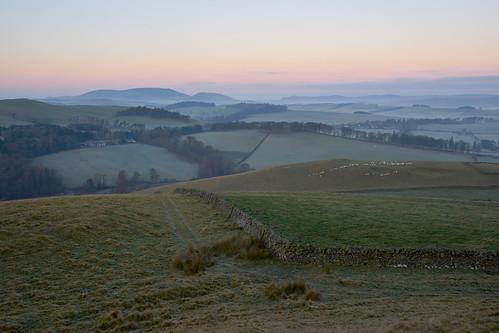 uk scotland borders scottish whiteside hill peeblesshire landscape scene scenery view dawn cool frost sunrise canon a7 fields
