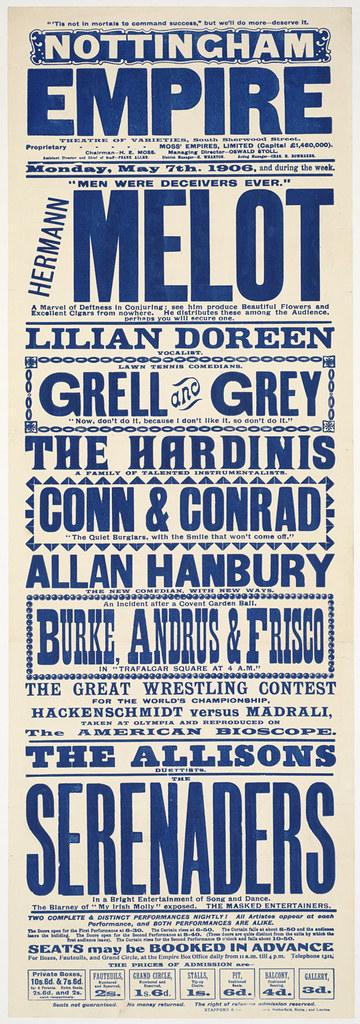 Nottingham Empire : Theatre of varieties, South Sherwood Street.