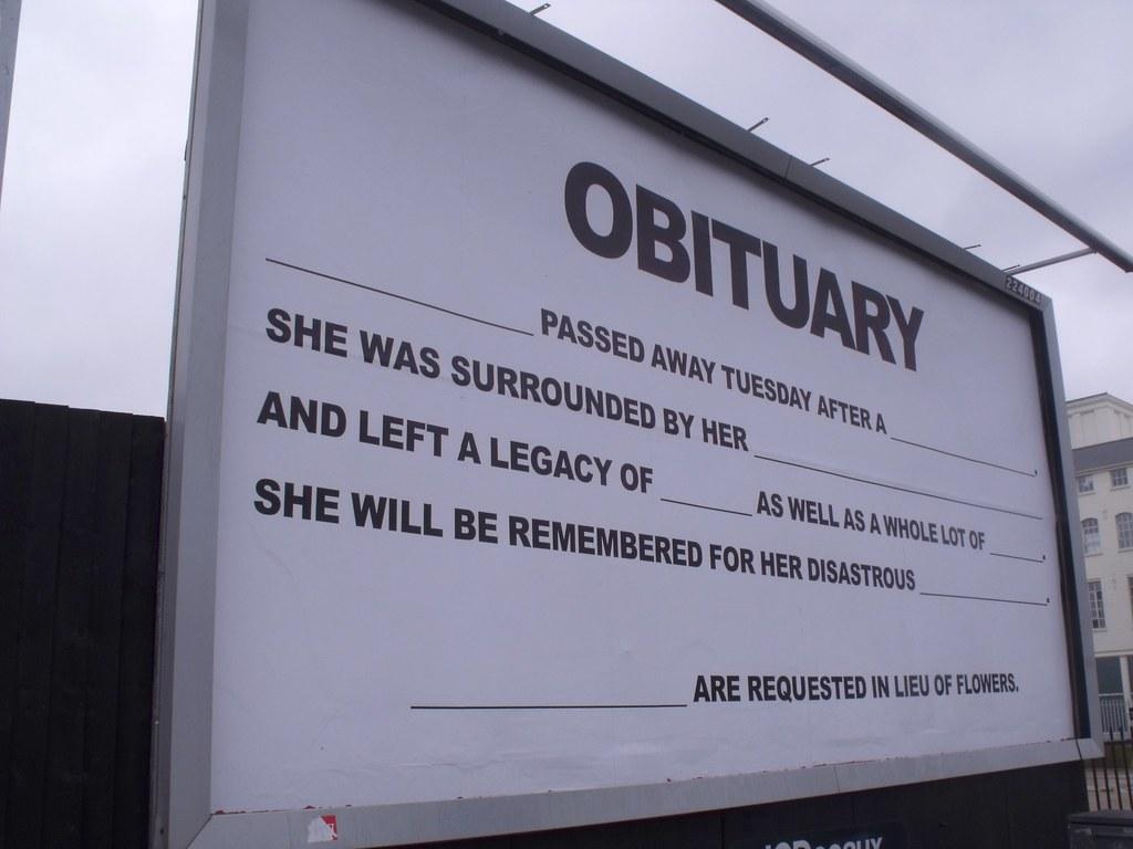 48Sheet billboard art project - Birmingham - High Street Deritend - Digbeth - Obituary