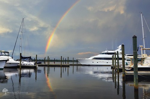 reflection water weather clouds marina photography nc rainbow nikon photographer cloudy yacht northcarolina waterscape stormchasing potofgold newbern