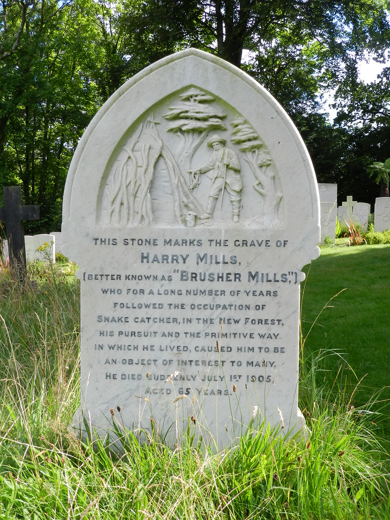 Gravestone of Brusher Mills - Snakecatcher