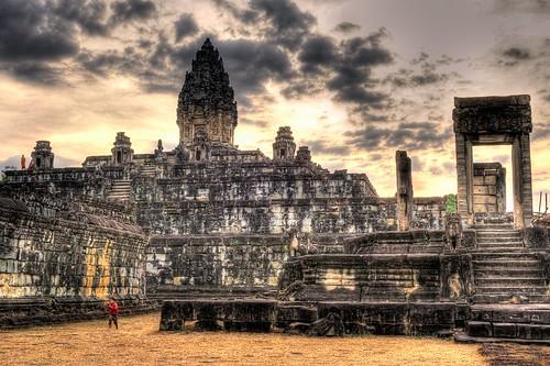 door sunset sky sun wall clouds stairs asian kid nikon ruins rocks asia cambodia monk running angkorwat doorway staircase monks southeast siemreap setting hdr highdynamicrange kampuchea lolei photomatixpro roluosgroup bakongtemple d700 2470mmf28g nathanhortonphotographytour