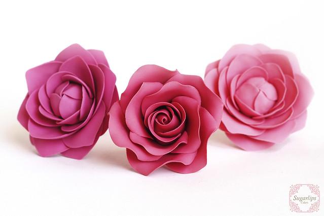 Sugar Camellias and Rose