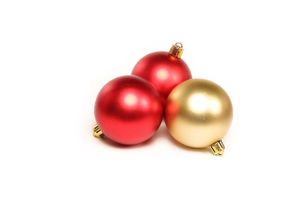 Christmas Ornaments On White Background Round Christmas Tr