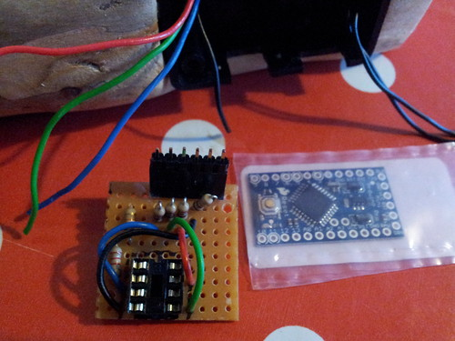 Comparing size of Arduino pro mini to original nightlight circuit | by lilspikey