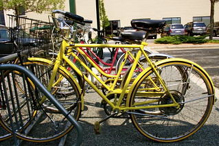 Bike rental racks are right outside the security office! | by Schlitz Park Office Campus