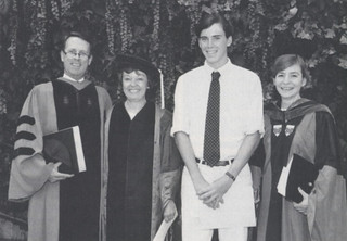 President Peter Stanley, Alumni Council President Sandy Hall Briggs '64, ASPC President Adam Murray '93, and Vice Presidenta and Dean of Students Ann Quinley, after Opening Convocation in 1992.