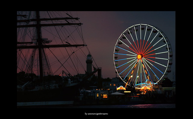 tall ship with ferris wheel