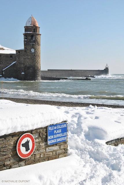 Clocher de Collioure sous la neige...