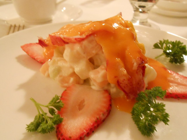 Lobster with dried fruits and strawberries, at Lai Wah Heen