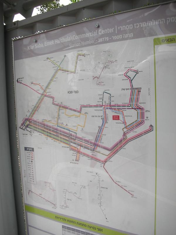 מפת תחבורה ציבורית בכפר-סבא