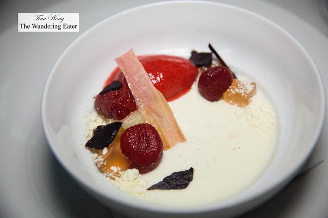 Strawberry hibiscus sorbet, laurel panna cotta, chamomile, celery