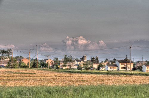 pink blue houses sunset sky orange house green field grass clouds landscape town nikon cloudy pennsylvania neighborhood pa nikkor hdr highdynamicrange greencastle d90 photomatix