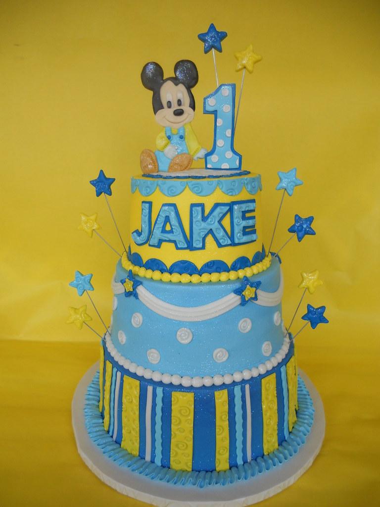 Astonishing Baby Mickey 1St Birthday Cake Amy Stella Flickr Funny Birthday Cards Online Alyptdamsfinfo