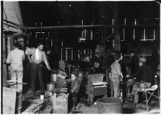 Scene in Woodbury Bottle Works. They work nights. Woodbury, N.J., November 1909