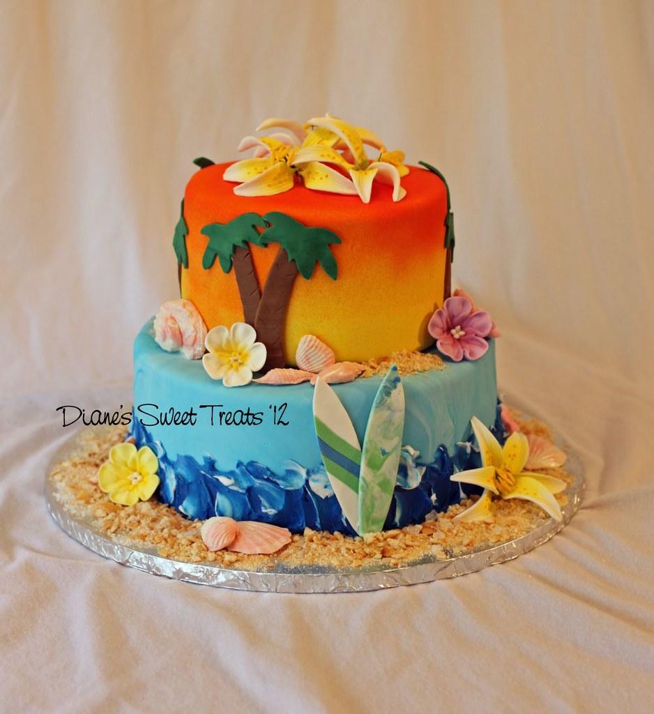 Terrific Hawaiian Cake Birthday Cake Shells Are Fondant Surfboar Flickr Funny Birthday Cards Online Kookostrdamsfinfo