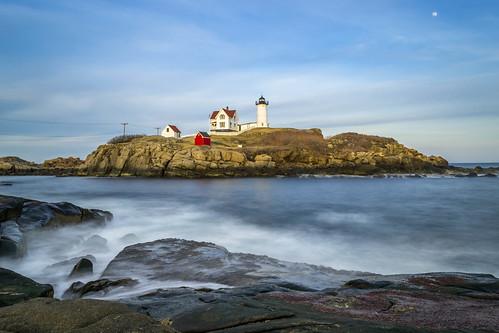ocean longexposure sea moon lighthouse me water harbor nikon day ngc maine newengland filter nd slowshutter hoya nd400 pwpartlycloudy