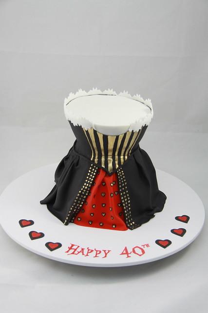 Alice in Wonderland themed 40th birthday cake
