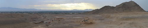 morning summer sky panorama brown color skyline sunrise canon outdoors construction desert lasvegas earth nevada july panoramic stitched quarry 2012 lonemountain