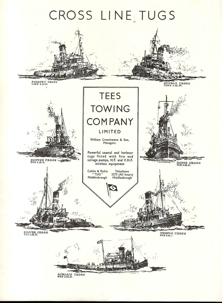 Cross Line Tugs - Tees Towing Company Limited - 1951 adver