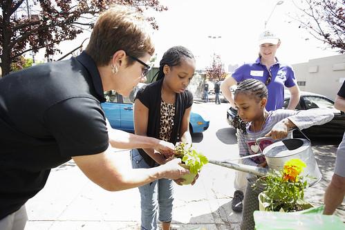 Photo of volunteers watering and planting flowers in urban area