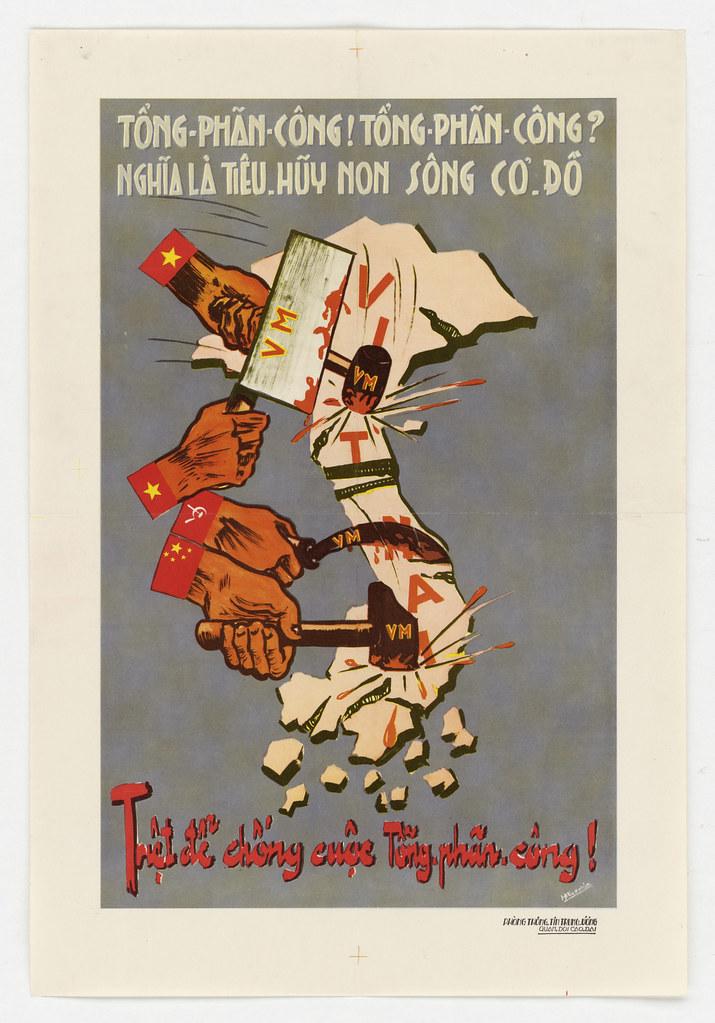 1951 Vietnam War Propaganda Poster: Between the hammer and