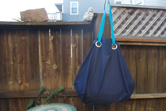 gigantic blue Ikea bag