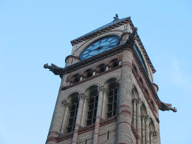 Clock tower, with gargoyles