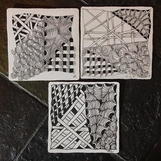 "Lovely tiles from Part One of a mini ""Introduction to Zentangle"" class in Windsor, Ontario. #zentangle #tangle #tangling #czt #laurelreganczt #art #classes #artclass #artclasses #draw #drawing #windsor #ontario #yqg 