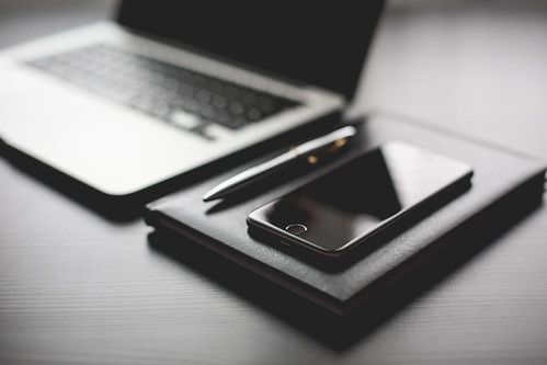 All black working setup diary and iphone | by perzonseo