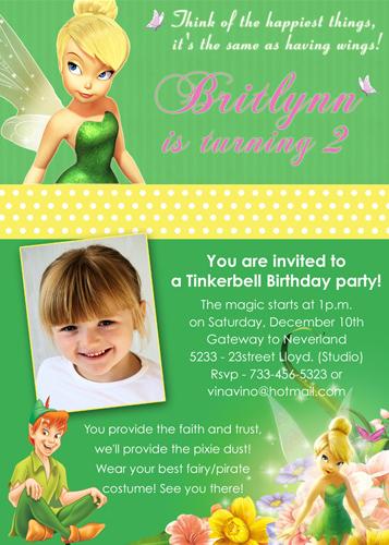Tinkerbell Peter Pan Fairy Dust Neverland Custom Birthday Invitation
