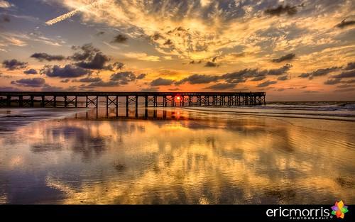 reflection beach sunrise pier southcarolina charleston isleofpalms