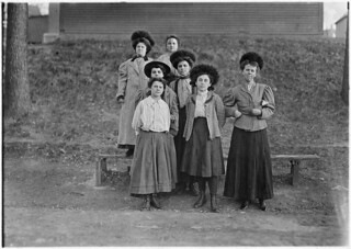 Only a few young girls work in the Chace Cotton Mill. In front row are Anna Grenier, 2 years in the mill, Agnes Fountain. Burlington, Vt, May 1909