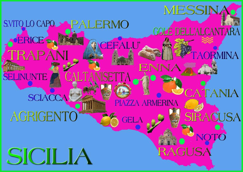 Cartina Sicilia Turistica.Cartina Della Sicilia Turistica Mappa Turistica Della Sici