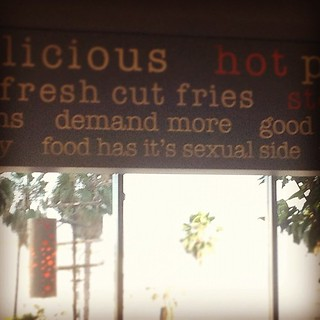 Bad grammar at the Burger Lounge. Only in L.A.  #ohsnap | by sarahwulfeck