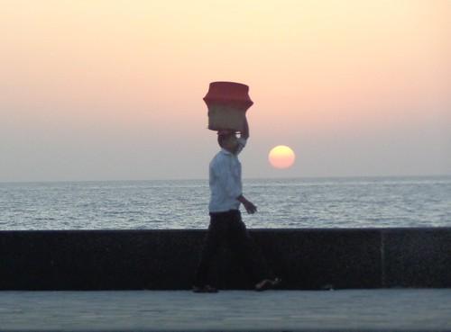 asia india bombay mumbai sunset sun sea water ocean sky