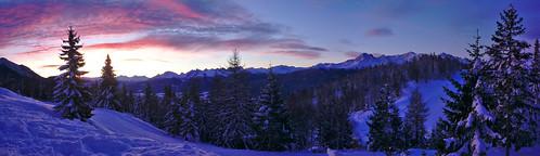 red sky white snow pine sunrise landscape austria tyrol seefeld