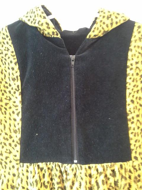 Leopard Hide And Seek Dress with hood, front yoke