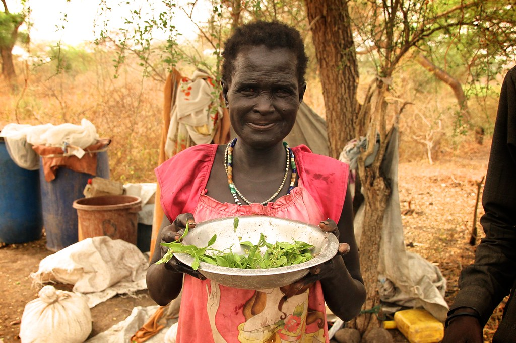 Those who fled fighting and came to Lankien with nothing, now have only leaves and grass to eat until the next harvest. Oxfam is distributing food from WFP air drops.