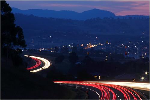 road longexposure nightphotography light night lights highway view motorway australia freeway vista tasmania lighttrails bridgewater mainroad granton austinsferry nightimephotography brookerhighway canoneos550d trainsintasmania stevebromley