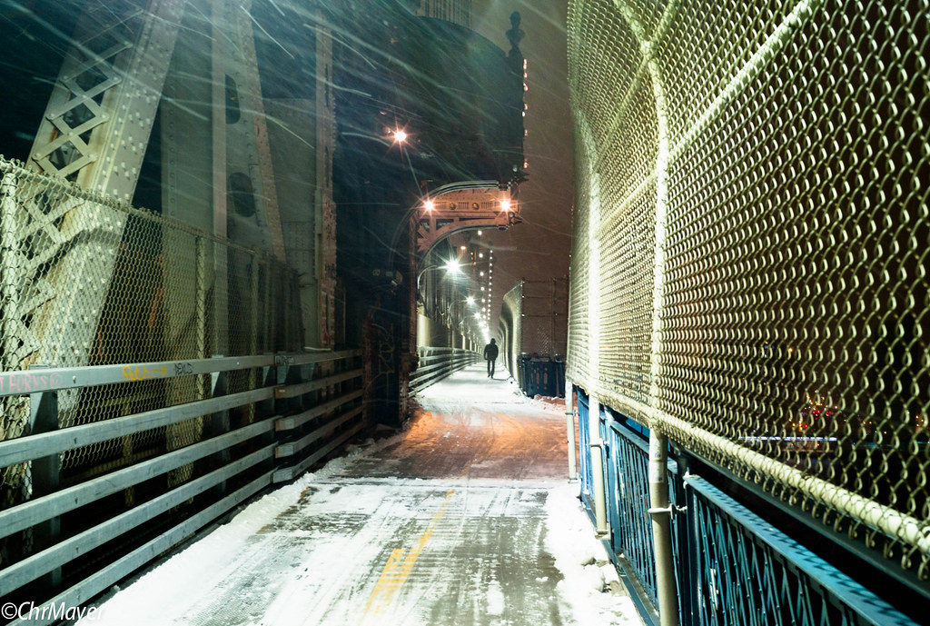 Blizzard on Manhattan Bridge