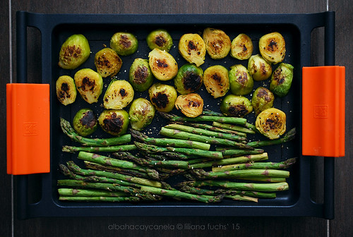 Roasted asparagus and brussel sprouts with sesame | by Akane86