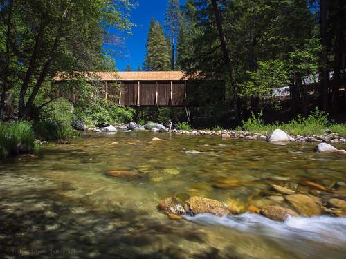 california ca longexposure bridge mountains forest river landscape fishing olympus yosemite coveredbridge yosemitenationalpark sierras sierranevada omd em5 1250mmf3563mzuiko