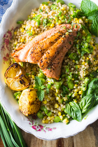 Charred Salmon with Lemon Herb Israeli Couscous and Fava Beans | by FerraroKitchen1