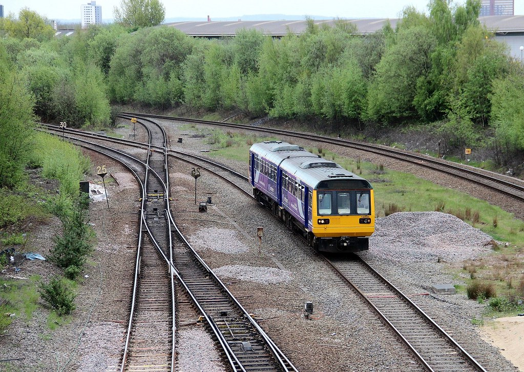Northern Trains Class 142 142044 approaching Salford Crescent, 8th. May 2013 by Crewcastrian