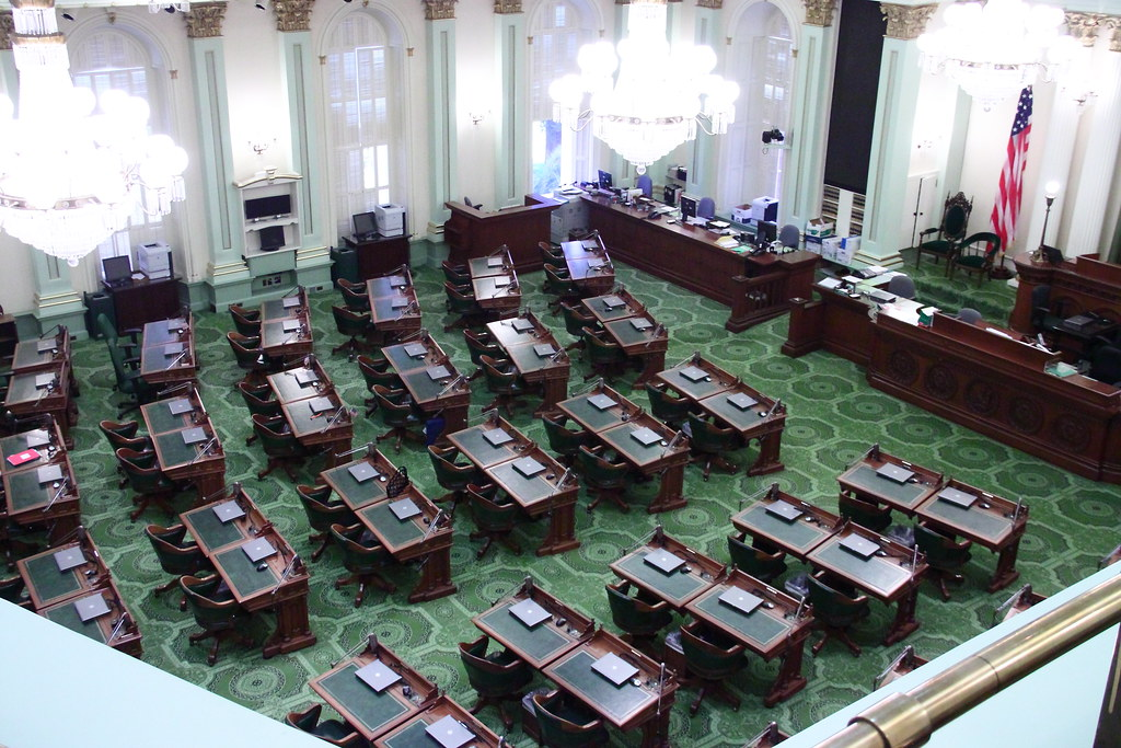 View of the California Assembly chamber from the balcony