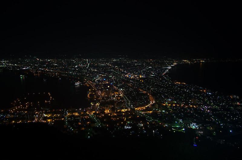Vue de nuit sur le port d'Hakodate