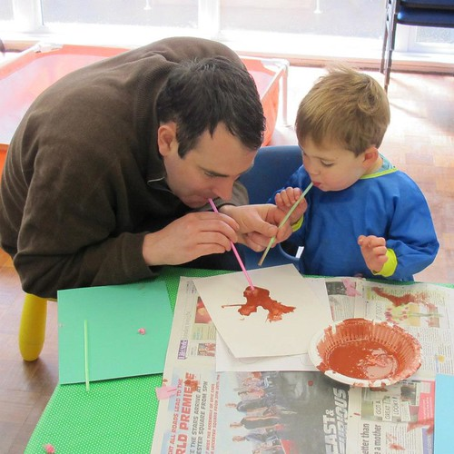 Painting blossom trees with daddy