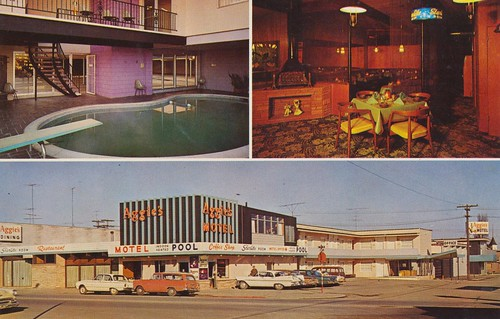 vintage washington postcard motel portangeles aggies poolview restaurantview triview
